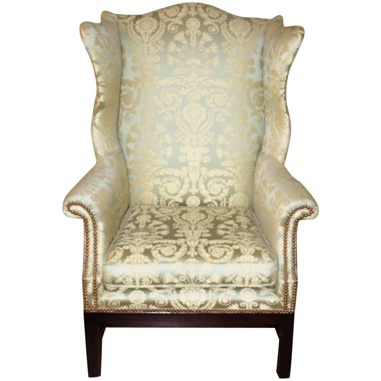 Damask Chair Silk Damask Wingback Library Chair