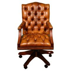Unique Leather Office Chairs Wide Recliner Chair Uk English Handmade Gainsborough Desk Cognac