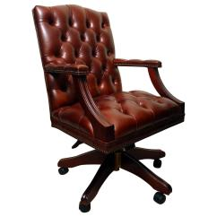 Unique Leather Office Chairs Charles Pollock Chair English Handmade Gainsborough Desk For Sale