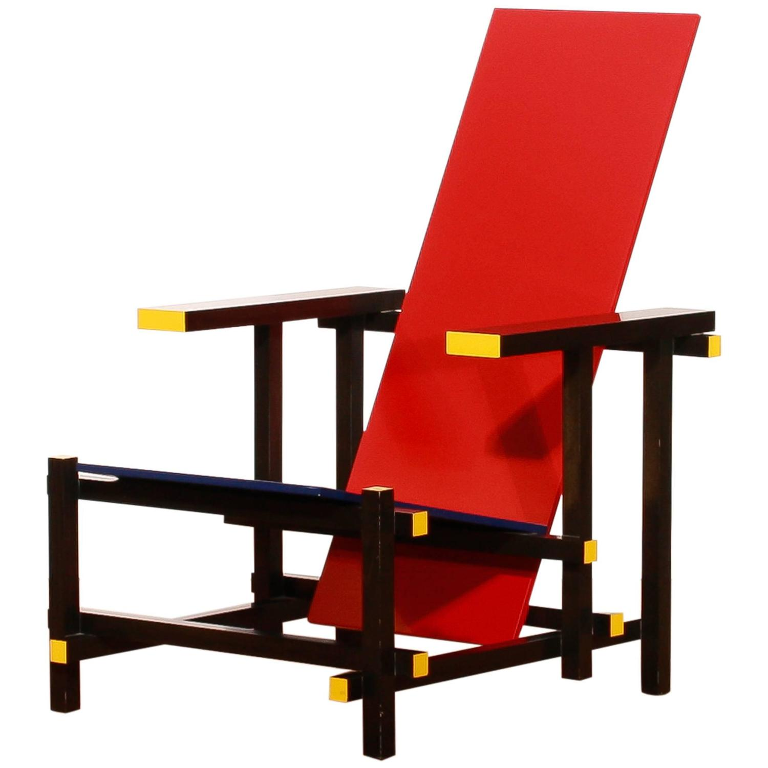 gerrit thomas rietveld chair black office no wheels t for cassina red and blue 1973