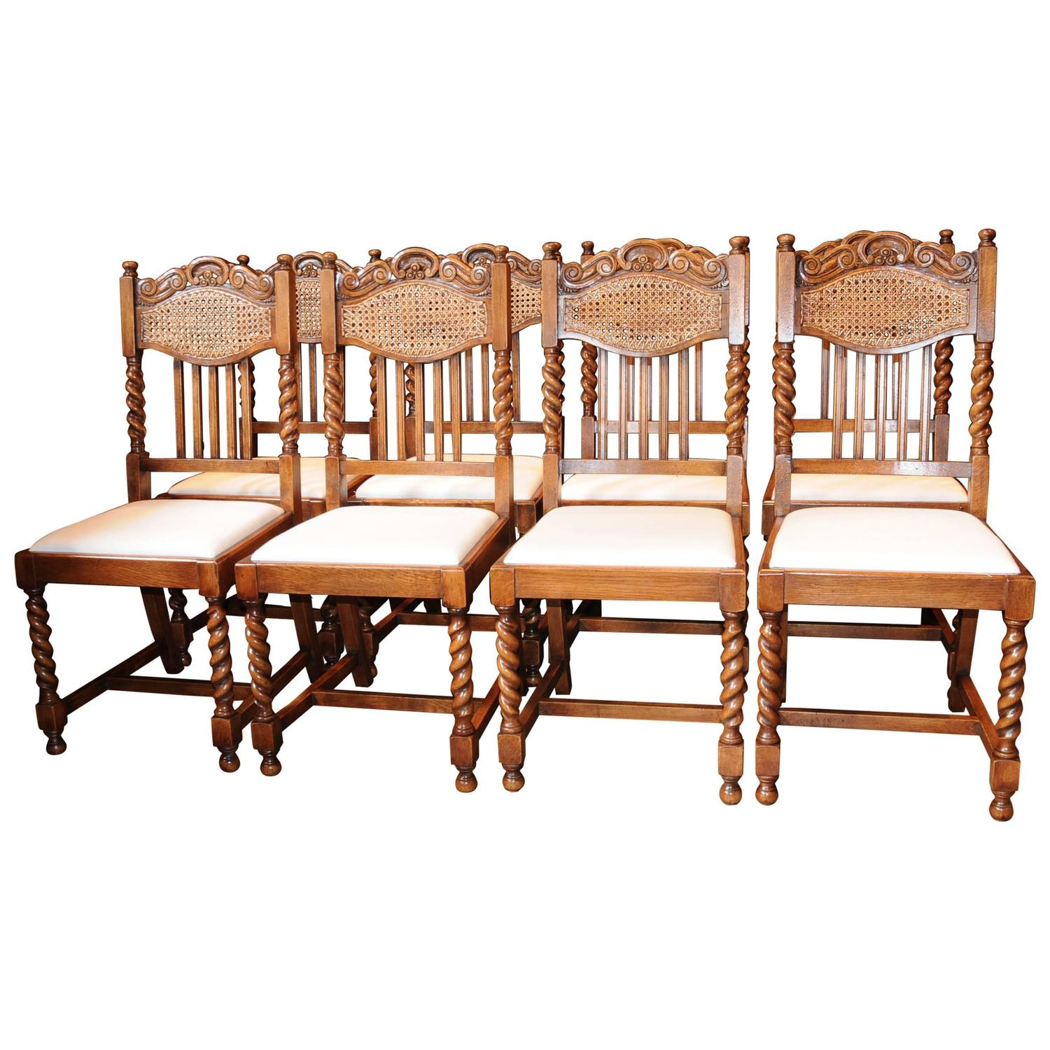 farmhouse chairs for sale chair rail designs ideas set of eight barley twist dining kitchen