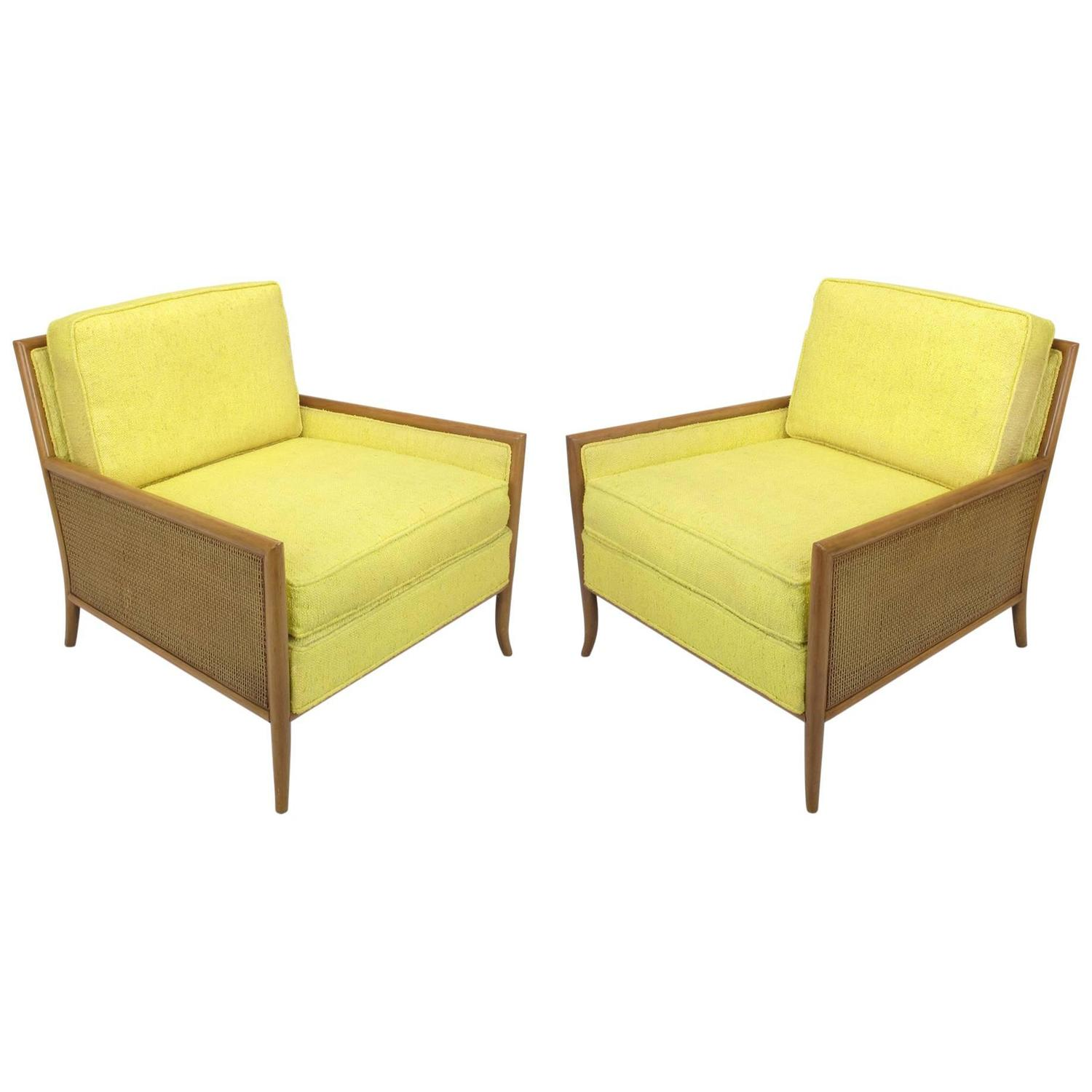 yellow club chair lounge outdoor chairs pair of walnut and haitian cotton