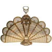 "Frenchl Brass and Bronze Mount "" Peackock Fan"" Fireplace ..."