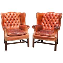 Leather Cigar Chair Menards Patio Cushions Pair Of Fine English Tufted Wing Chairs At