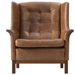 Buffalo Leather Chair Eames Dowel Replica Arne Norell High Back In Patinated Cognac