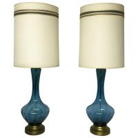 Mid-Century Modern Blue Glass Table Lamps For Sale at 1stdibs
