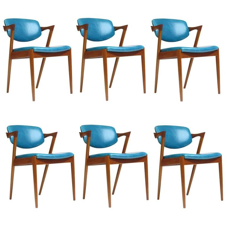 turquoise chairs leather armless chair sectional six kai kristiansen teak danish dining in 20 available for sale