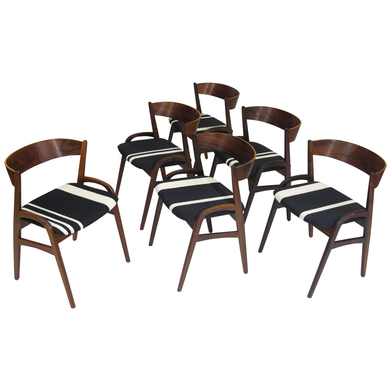 Black And White Striped Chair Six Rosewood Danish Dining Chairs In Black White Striped
