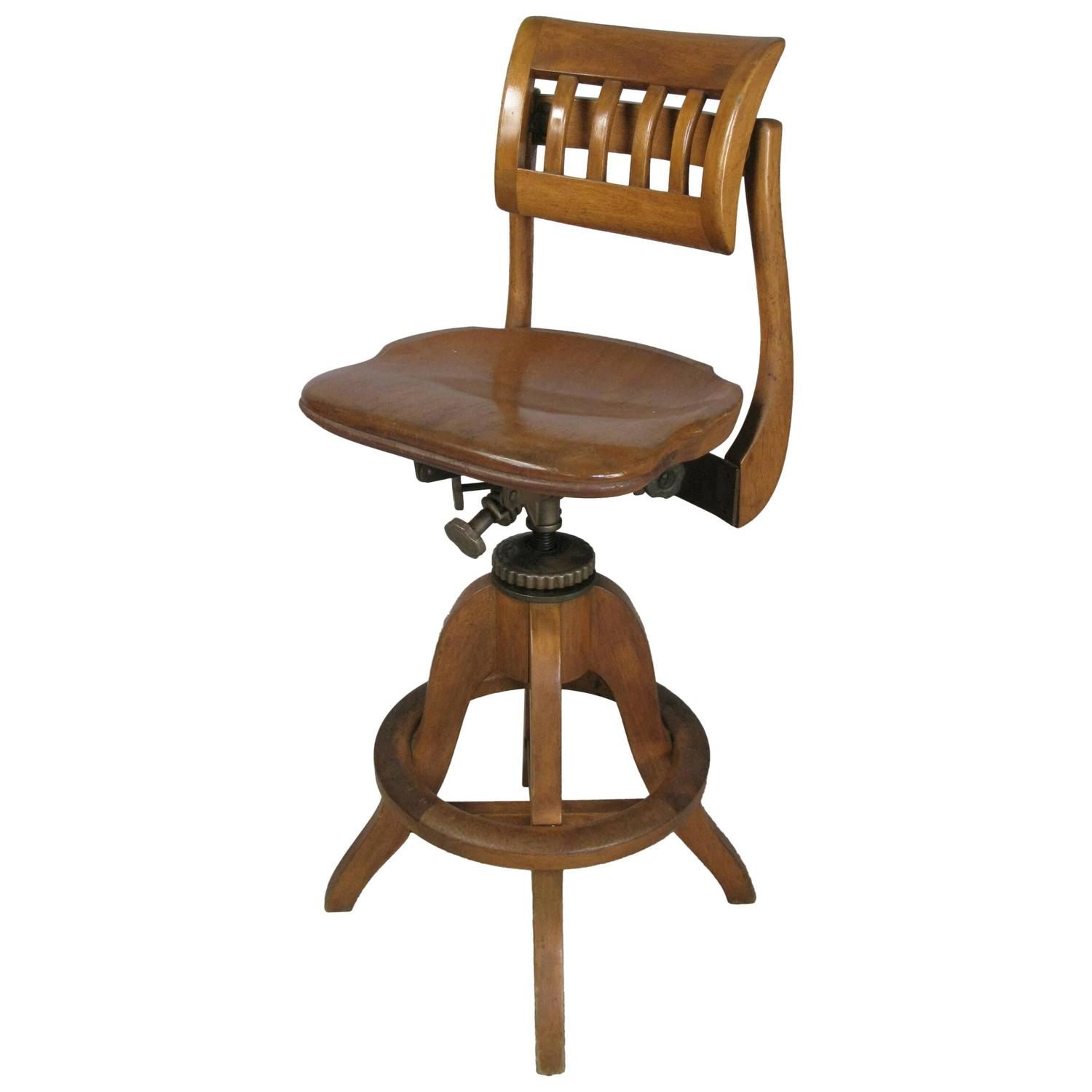 Adjustable Drafting Chair Antique Industrial Adjustable Drafting Stool By Sikes At