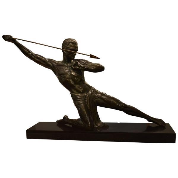 Art Javelin Bronze Sculpture Early 20th Century