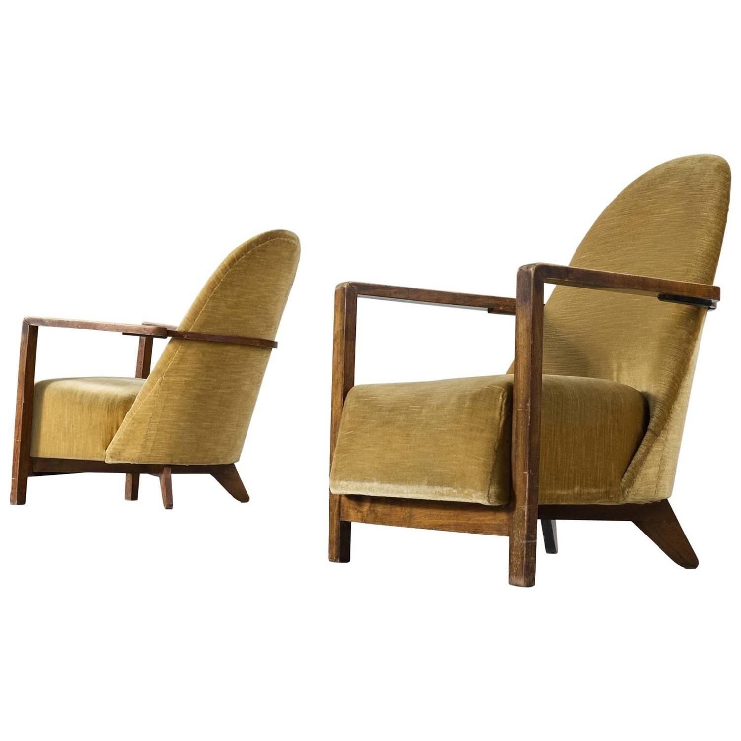 yellow club chair dining room chairs leather pair of dutch art deco in upholstery