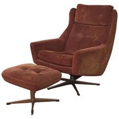 Recliner Vs Chair With Ottoman Anywhere Replacement Cover Scandinavian Modern Reclining Swivel Suede Lounge And By John Stuart For Sale