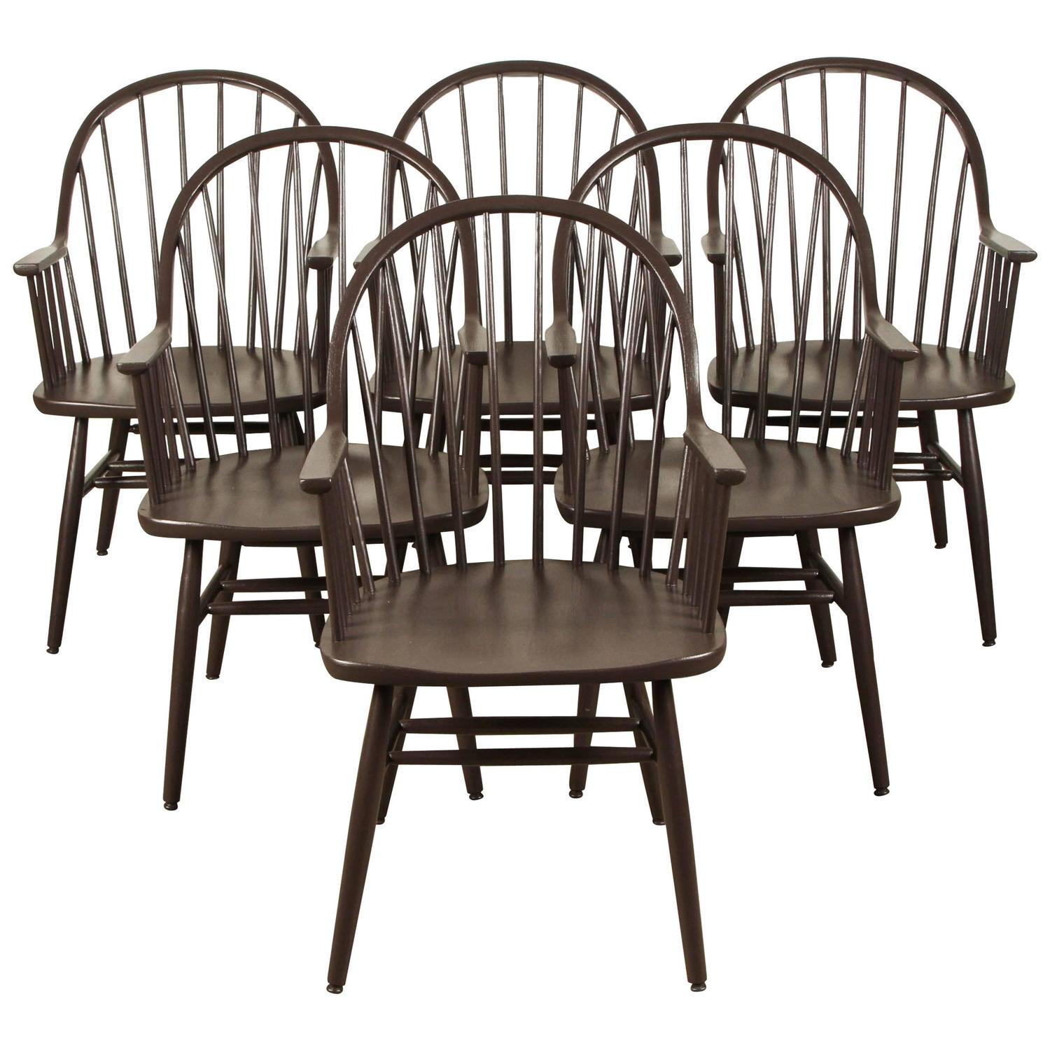 windsor back chairs for sale faux bamboo set of six painted style spindle dining