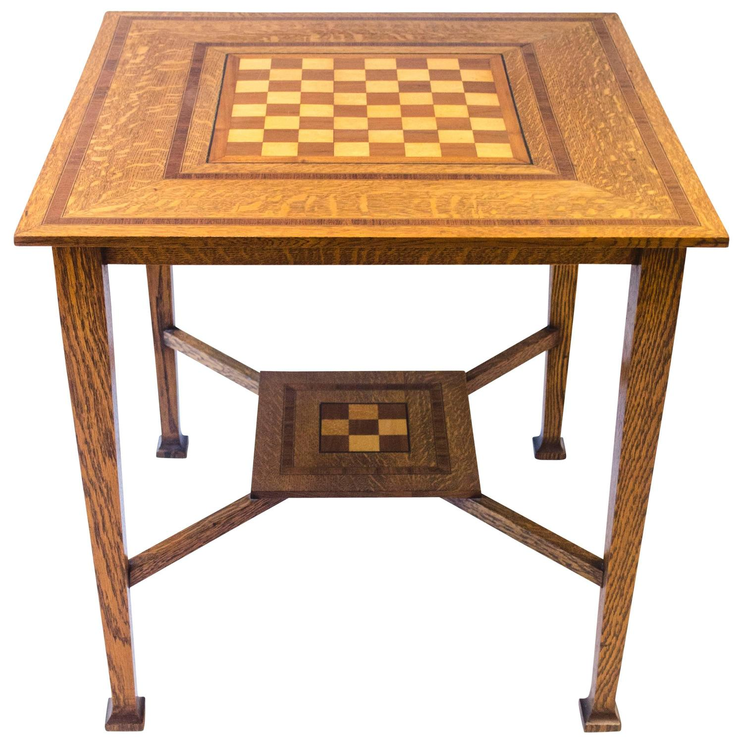 chess table and chairs gray chair pads arts crafts oak at 1stdibs