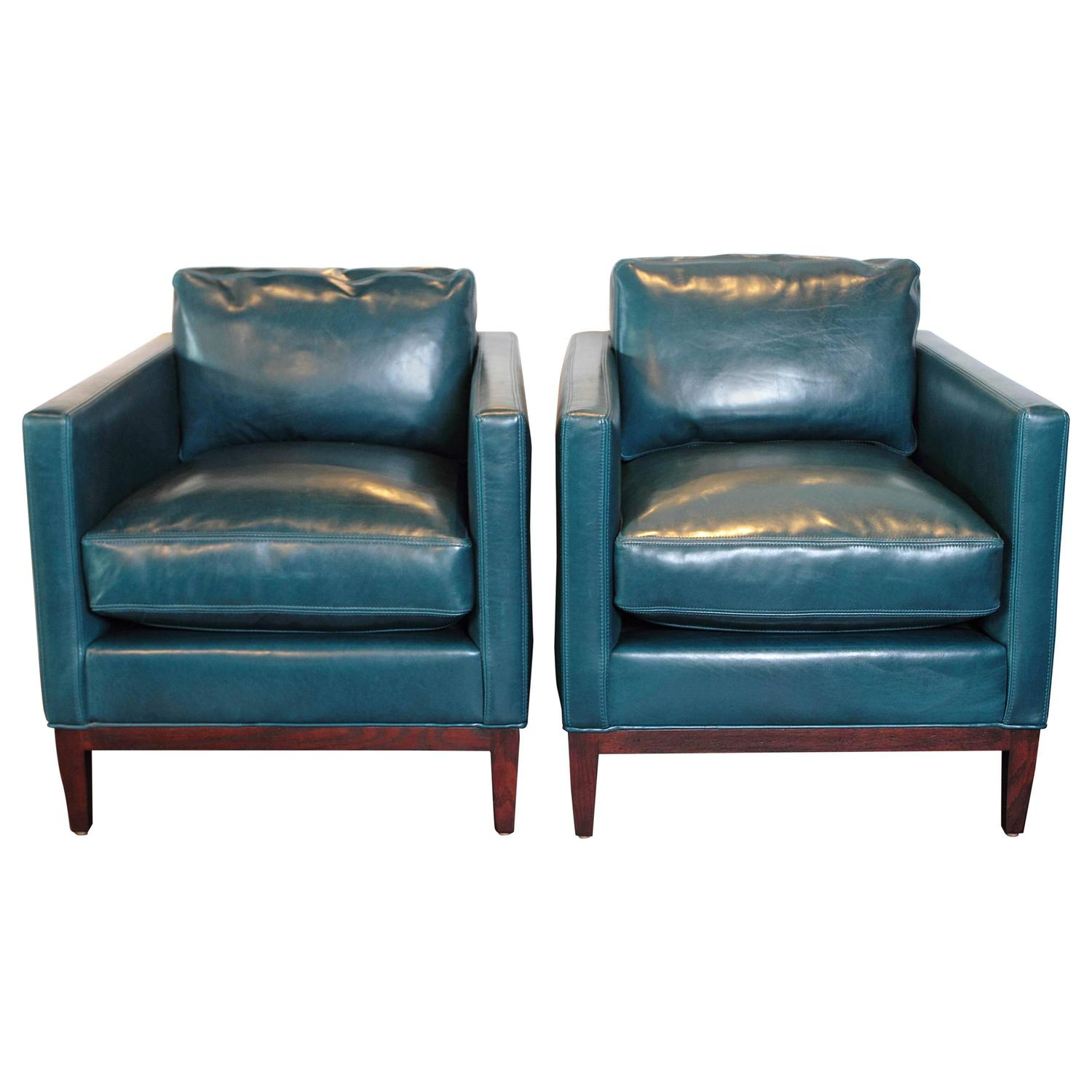 Blue Leather Club Chair Parisian Blue Leather Lounge Chair At 1stdibs