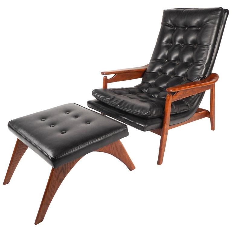 tufted chair and ottoman cowhide dining mid century modern vinyl lounge for sale at