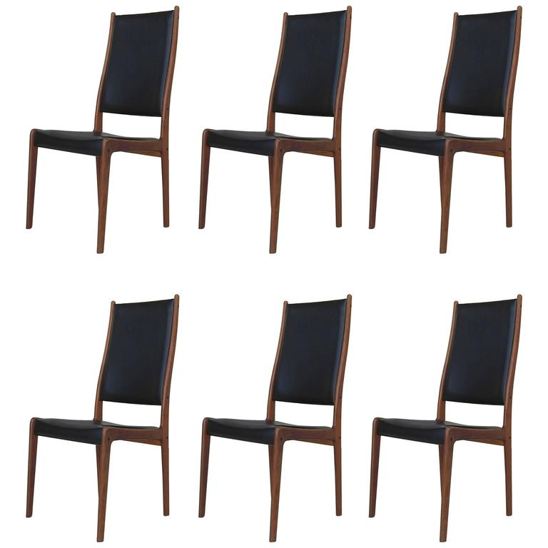 high back dining chair swing london set of six chairs by johannes andersen in teak for sale