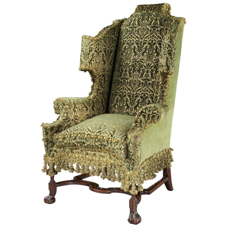 large leather chair with ottoman what is the definition of a rail very fine william and mary walnut wing for sale at 1stdibs