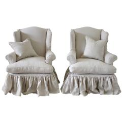 Chair Covers For Sale Ireland Parsons Slipcovers Canada Vintage Wingback Chairs Slip Covered In Organic Irish
