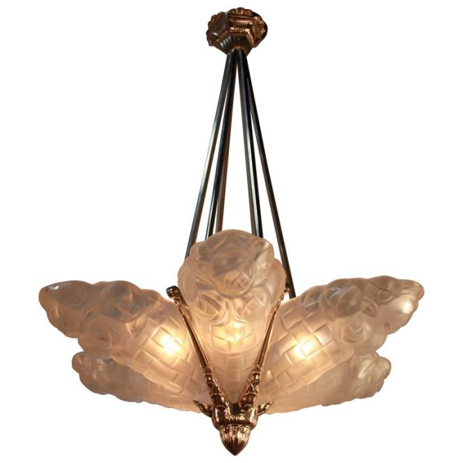 French Art Deco Chandelier 1930s By Degue 1