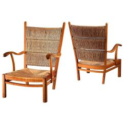 Mart Stam Chair Upright Recliner Chairs Pair Of Oak And Rush Armchairs Netherlands