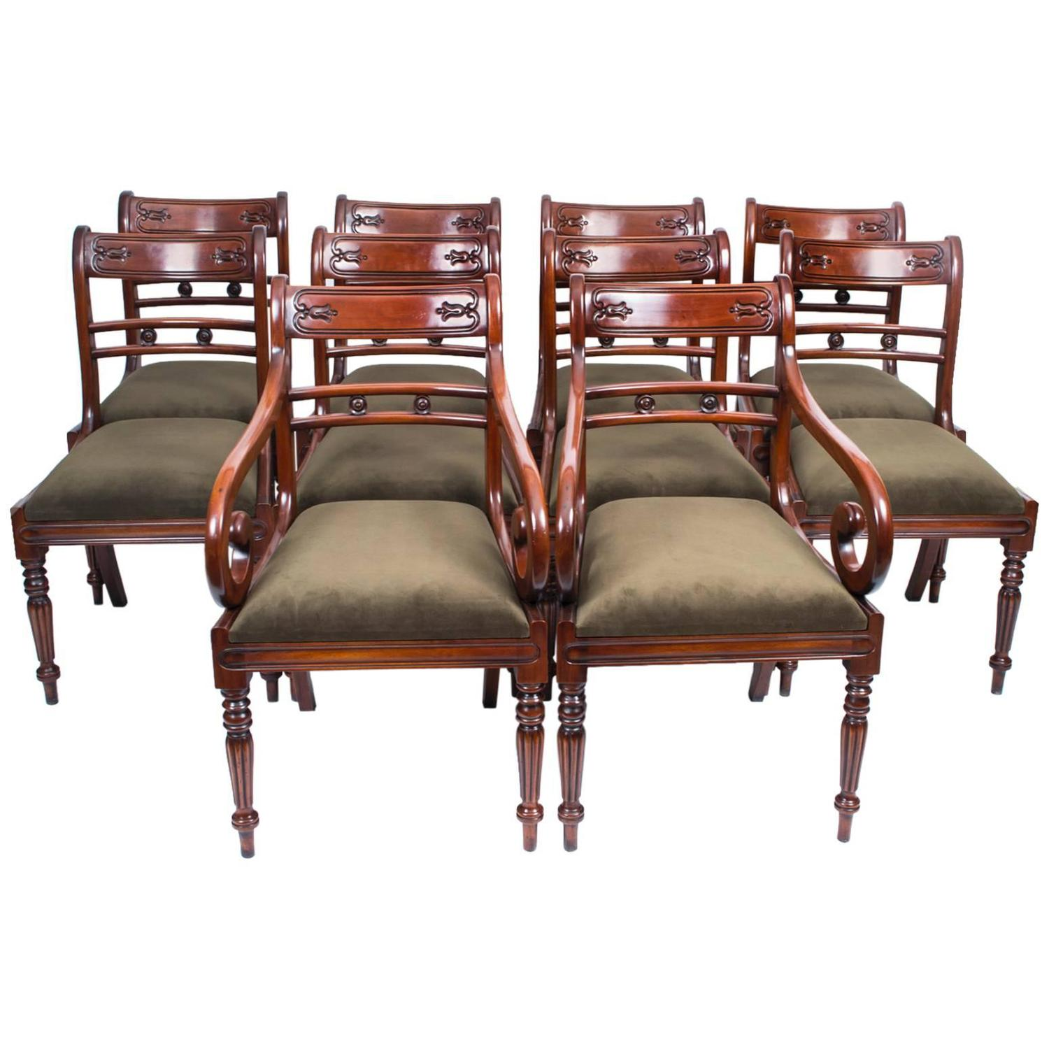 tulip dining room chairs american girl high chair grand set of ten regency style back