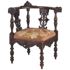 High Backed Throne Chair Orange Gaming French Renaissance Style Carved Walnut Corner Armchair, Late 1800s For Sale At 1stdibs