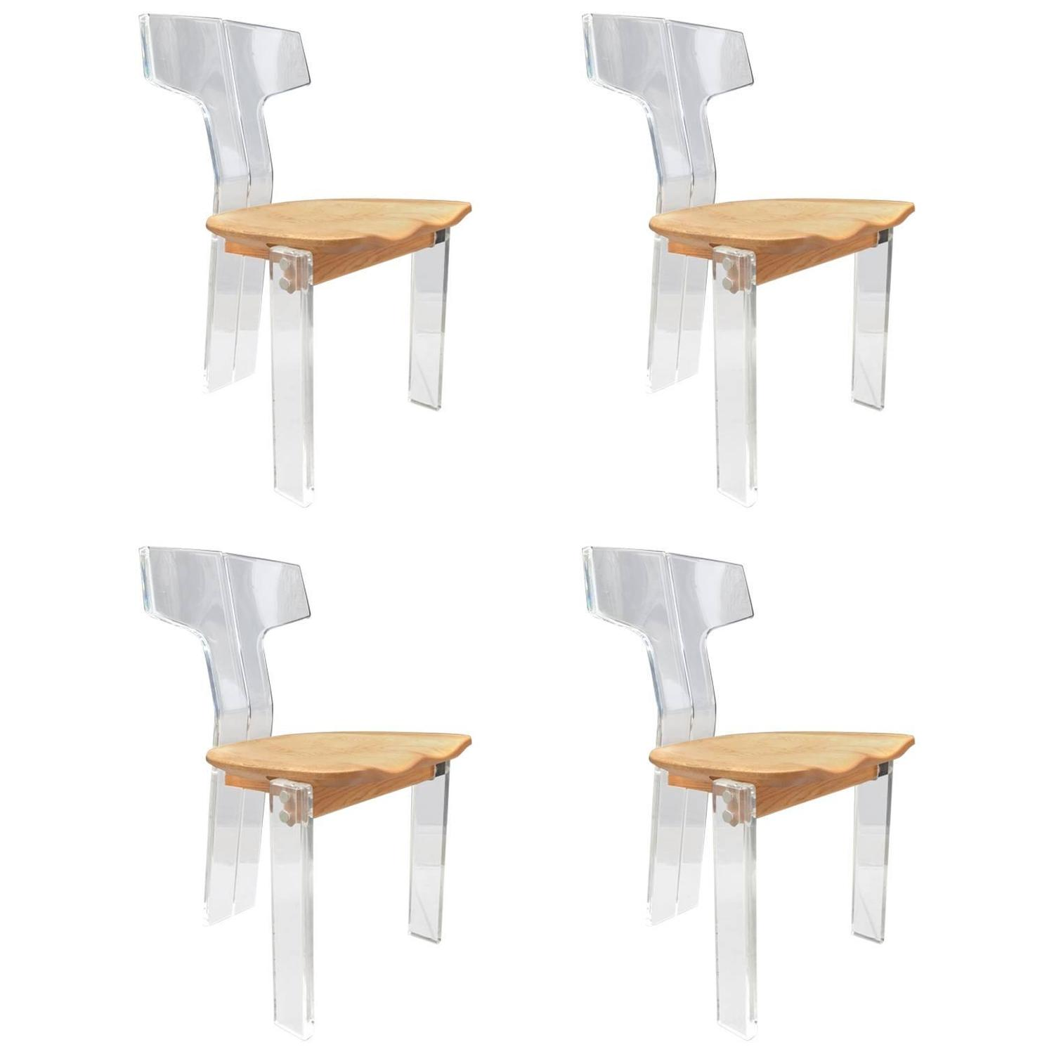 acrylic dining chair toys r us lego table and chairs four sculptural lucite oak for sale at