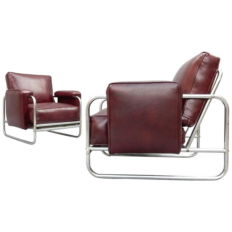 steel lounge chair adirondack chairs cushions uk art deco machine age tubular chrome circa 1930s for sale