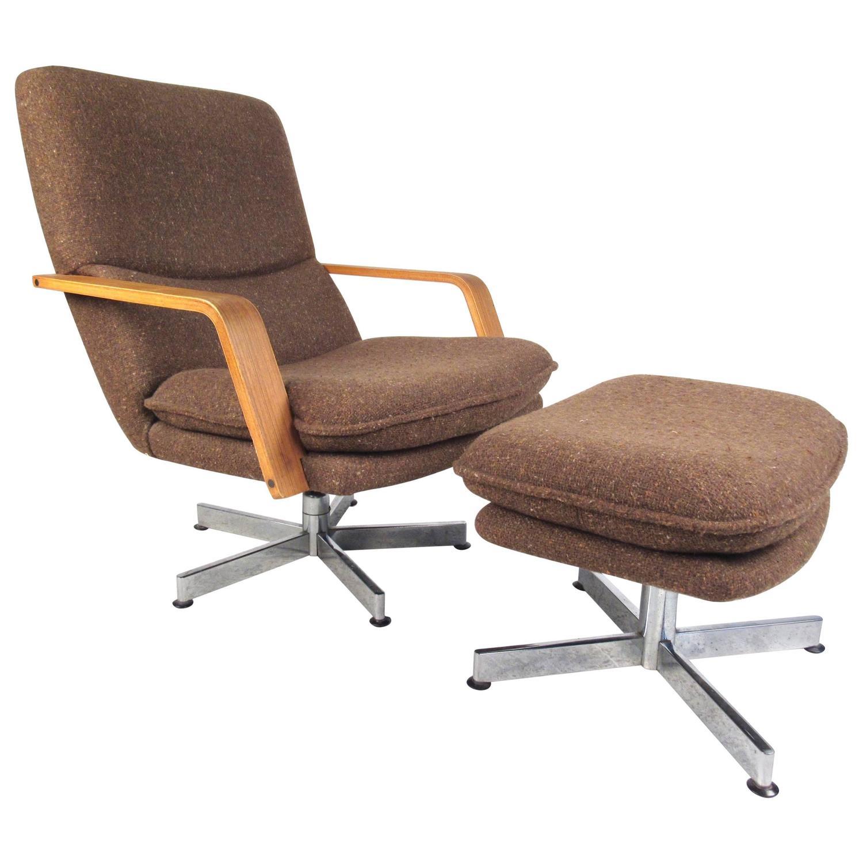 swivel club chair with ottoman evenflo modern high mid century style lounge