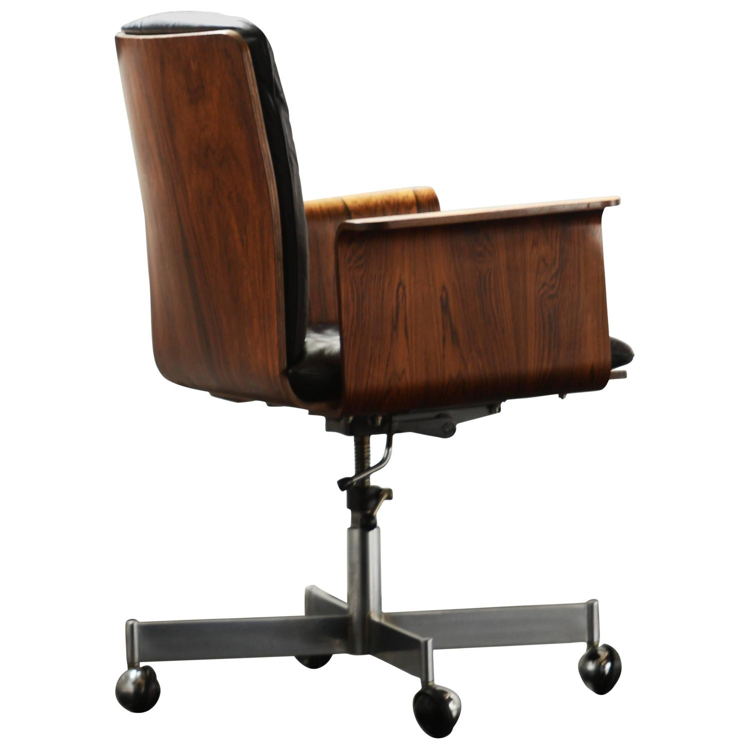 black leather desk chairs chair for kids jorgen rasmussen rosewood and or office