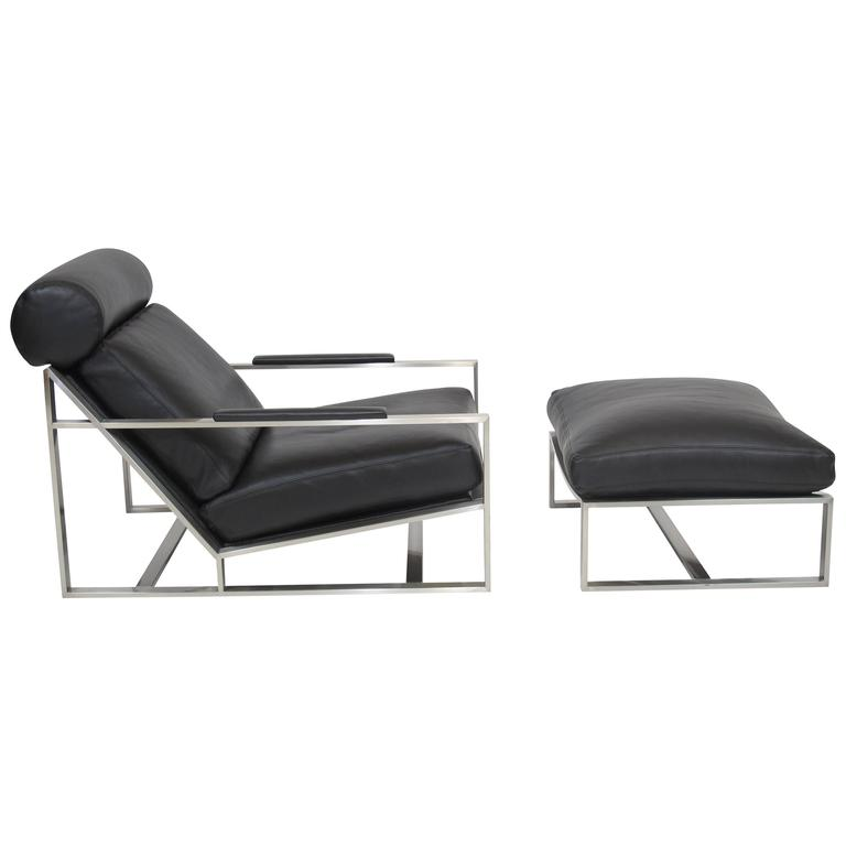 steel lounge chair salon styling milo baughman for thayer coggin in black leather sale
