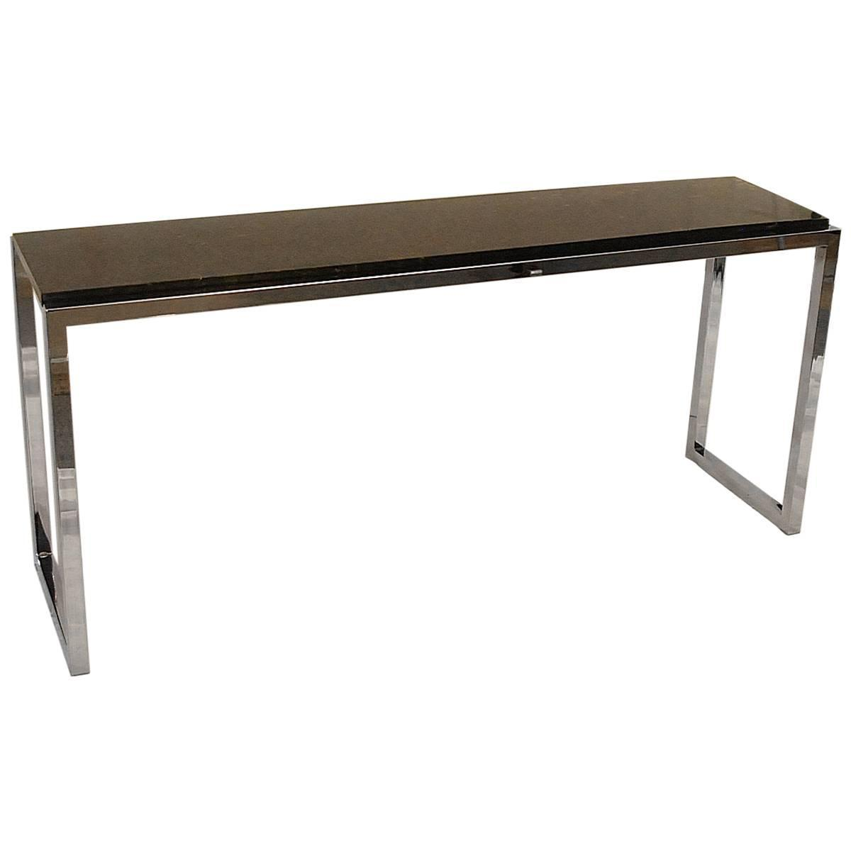 vogue chrome sofa table mitchell gold chester mid century milo baughman style and marble console