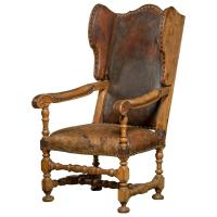 English Leather Upholstered Wingback Chair in Walnut For ...