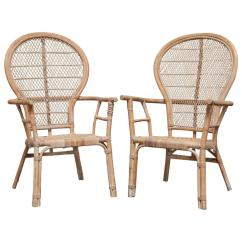 Fan Back Wicker Chair American Marketing Covers Hawaii Pair Of Rattan Peacock Chairs For Sale At 1stdibs