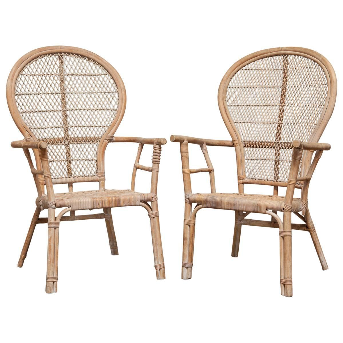 Fan Back Chair Pair Of Rattan Fan Back Peacock Chairs For Sale At 1stdibs