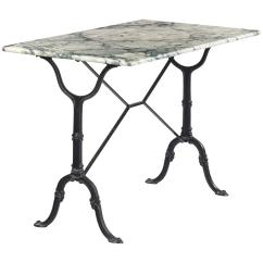 Antique French Bistro Table And Chairs Wooden Captain For Sale Vintage Marble Top Iron Base 1970s