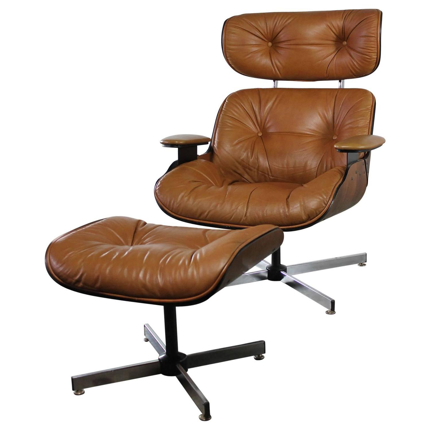 Mid Century Chair And Ottoman Mid Century Modern Plycraft Eames Style Lounge Chair And
