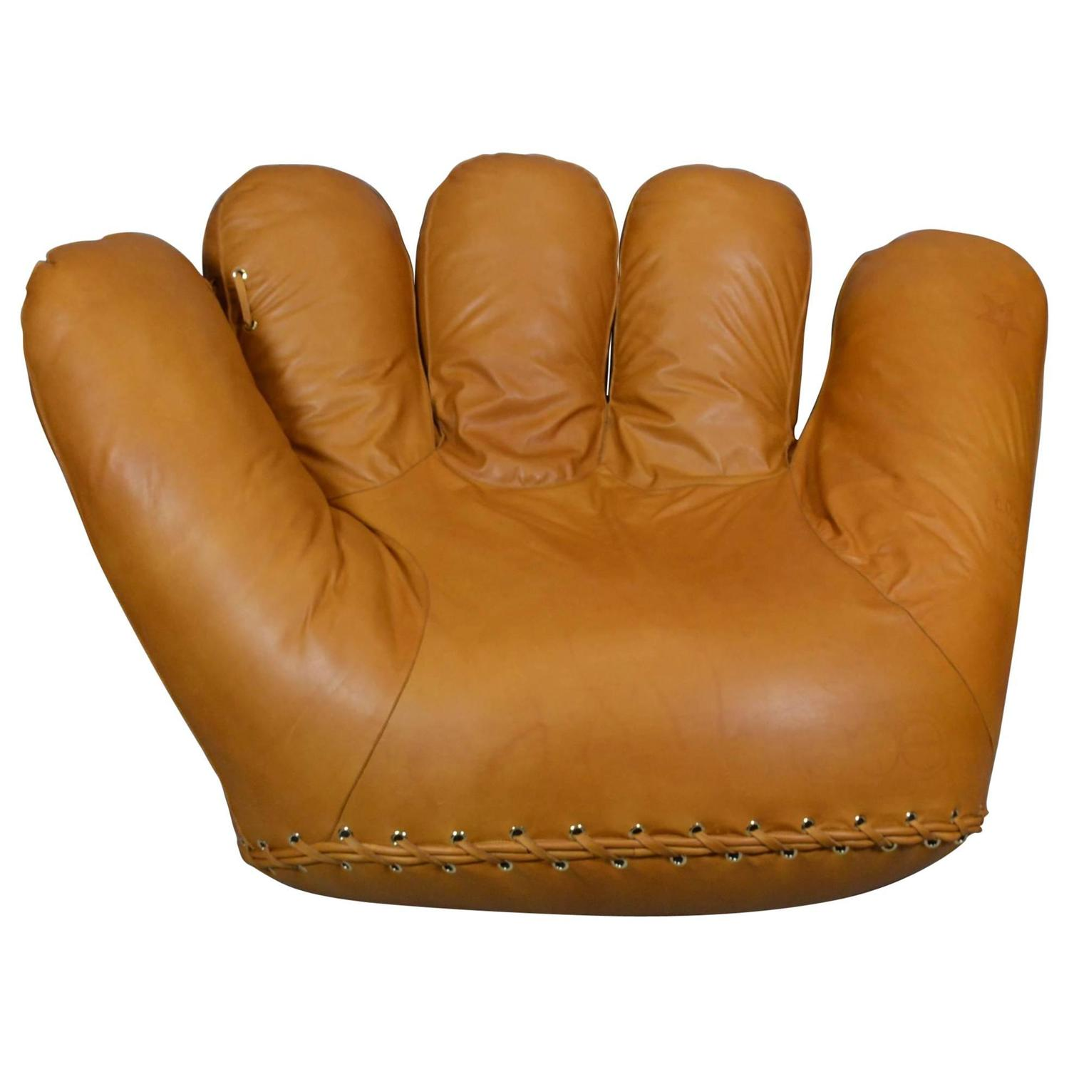 baseball glove chair home goods office alternatives joe lounge in anilin leather for sale