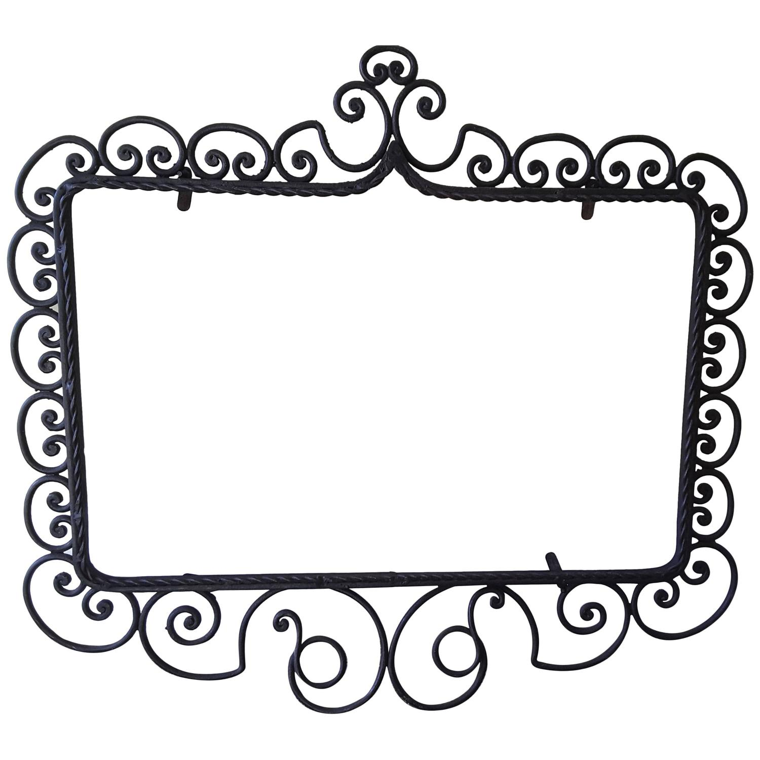 Wrought Iron Mirror/Picture Frame, Hand-Forged, Late