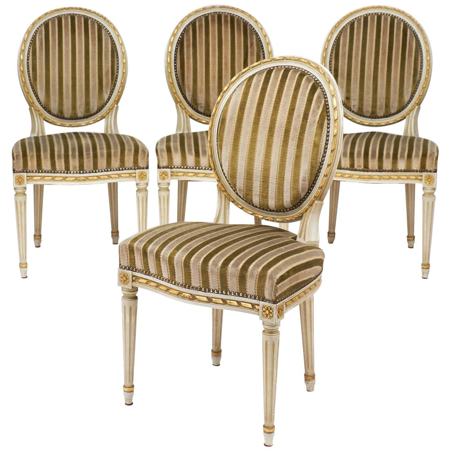 gold dining chairs activity for babies leaf striped velvet set of four antique louis xvi