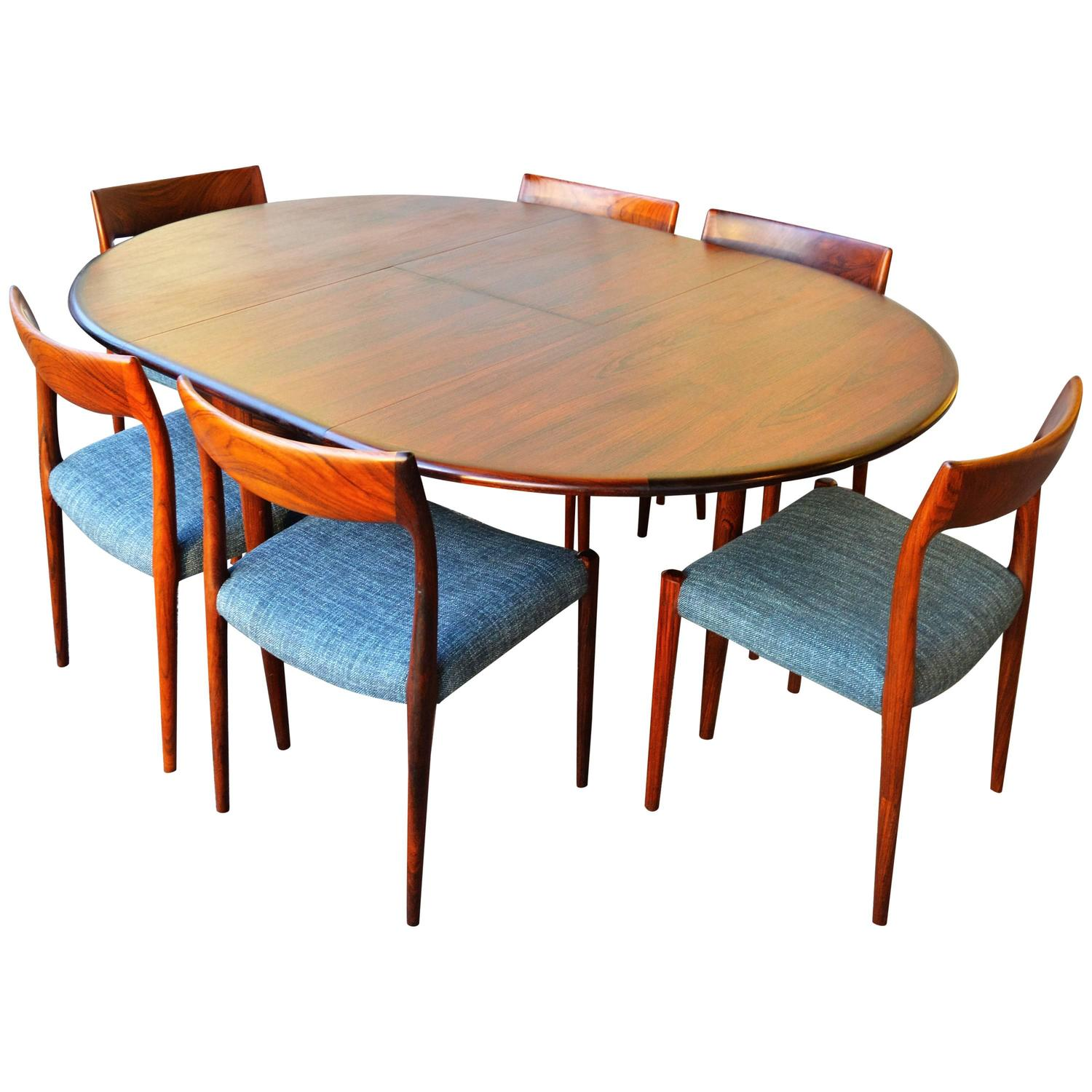 round dining table for 6 chairs rattan chair cushions covers unique restored n o moller rosewood one leaf