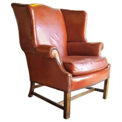 Traditional Leather Wingback Chair Acrylic Dining Legs A Stately English Red Wing Back Armchair With Nailhead Trim For Sale