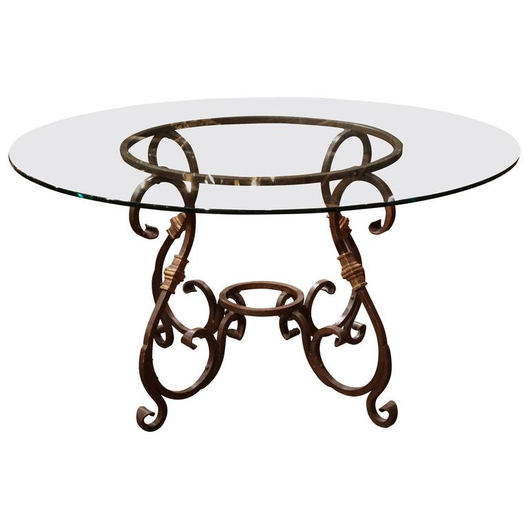 wrought iron french table base with round glass top