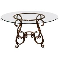 Wrought Iron French Table Base with Round Glass Top at 1stdibs