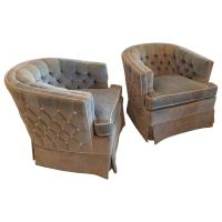 Pair of Vintage Button Tufted Arm Chairs Barrel Tub Swivel ...