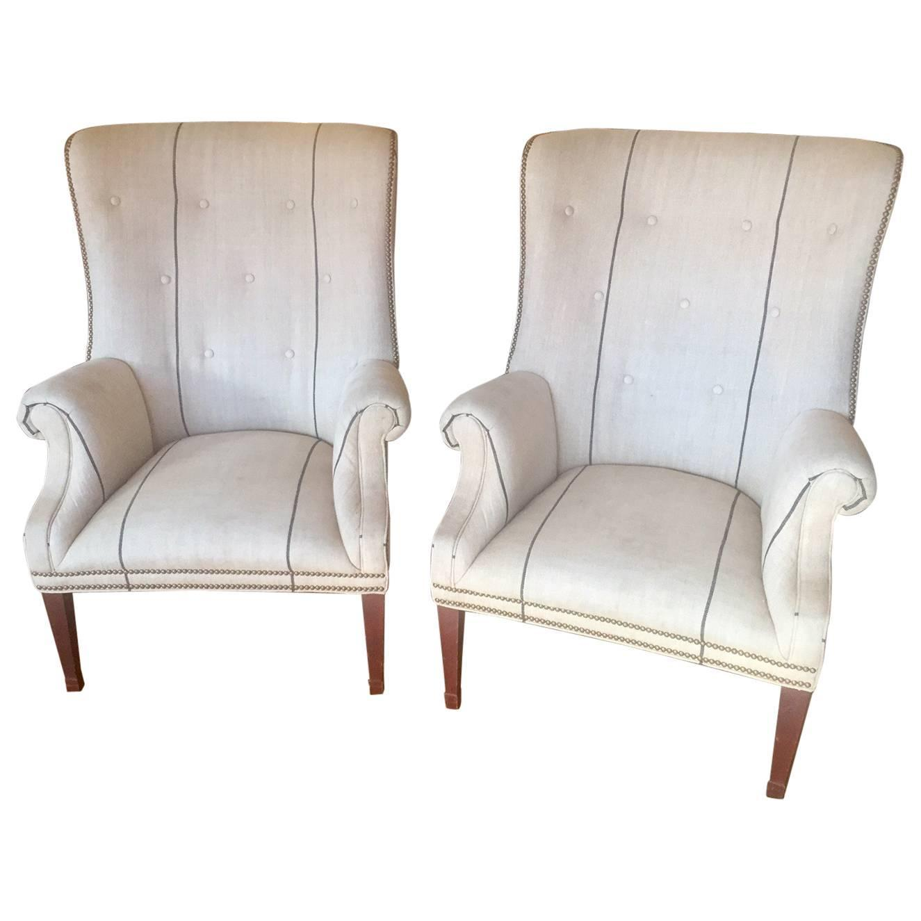 how to clean belgian linen sofa brown leather under 500 pair of classic ralph lauren tub chairs in