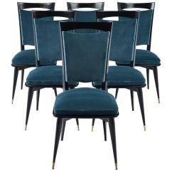 Dark Teal Dining Room Chairs Yellow Chair Covers Mid Century Modern Period Set Of Six Velvet