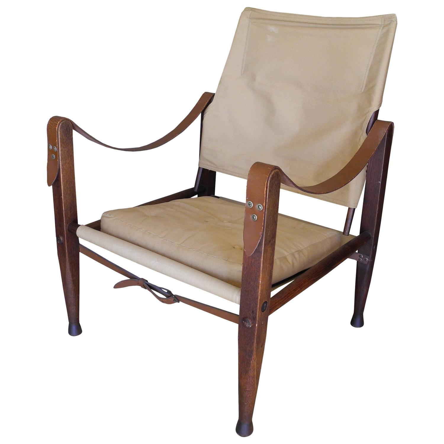 Safari Chair Canvas And Teak Portable Safari Chair By Kaare Klint For