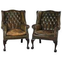 Pair of English George III Style Wing Chairs Upholstered